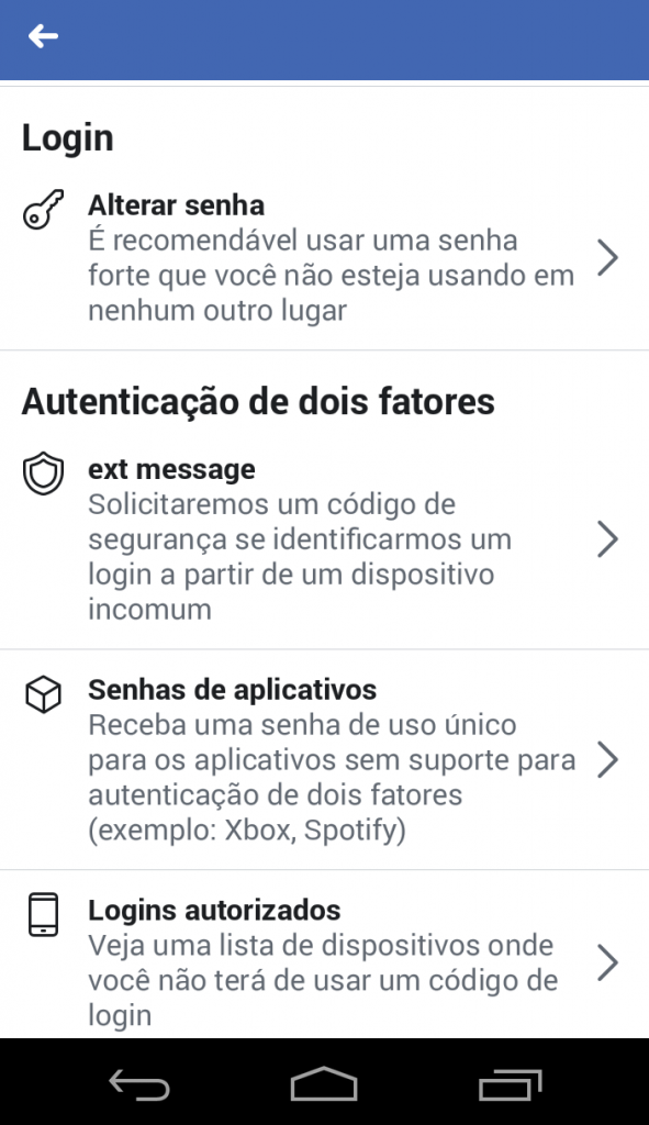 Configurações Facebook 3
