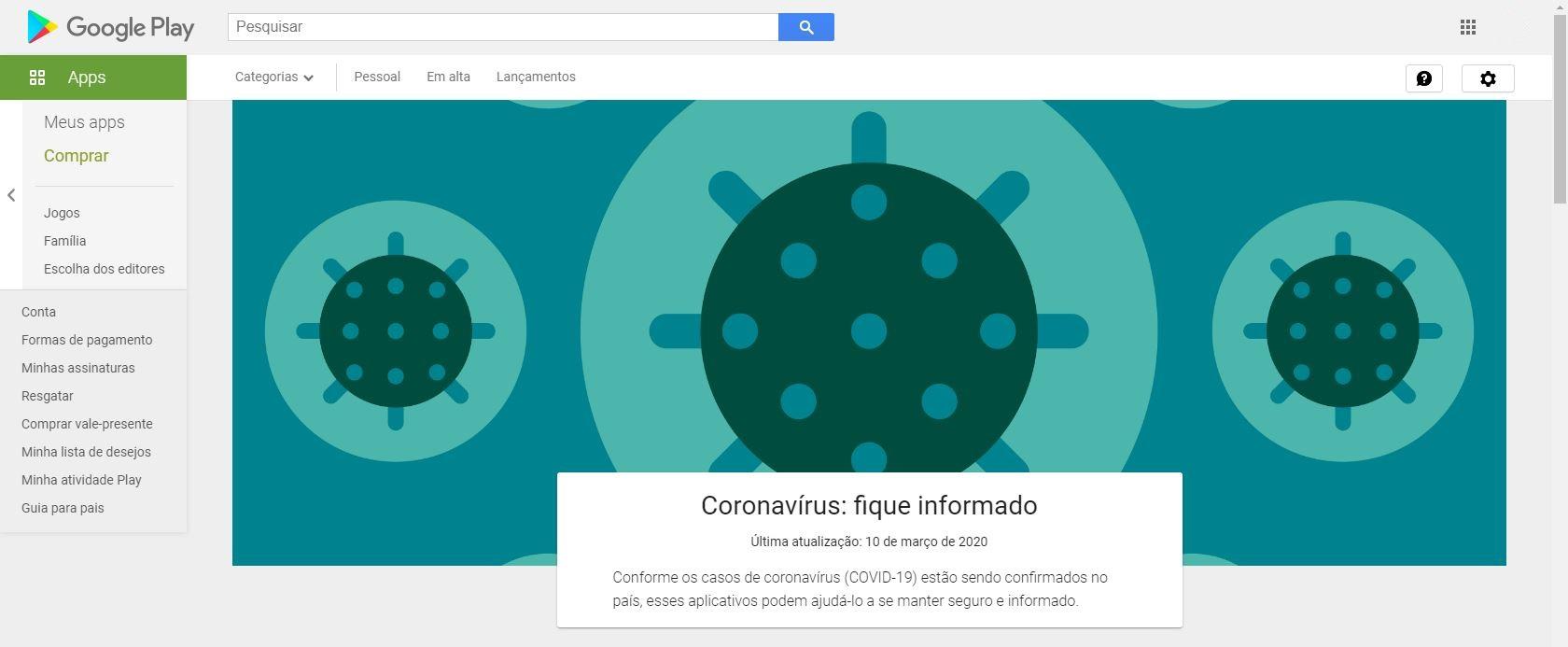 Google Play Coronavírus