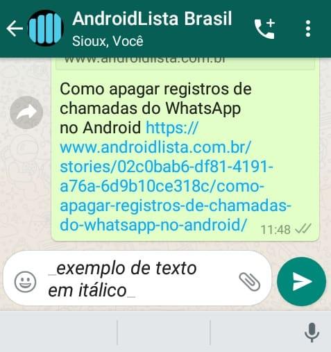 Itálico WhatsApp
