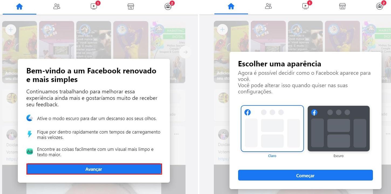imagem 3 de Facebook como ativar o novo design e modo escuro no navegador