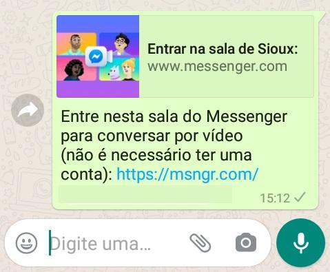 imagem 5 de Como fazer chamadas com até 50 participantes no WhatsApp através do Messenger Rooms