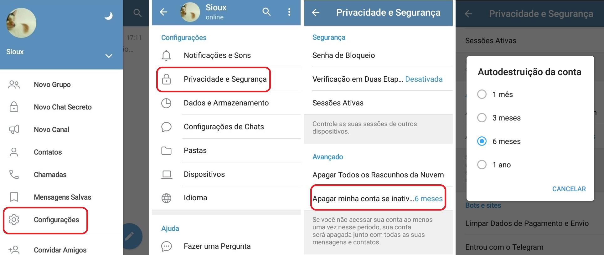 imagem 2 de Como desativar ou excluir a conta no Telegram