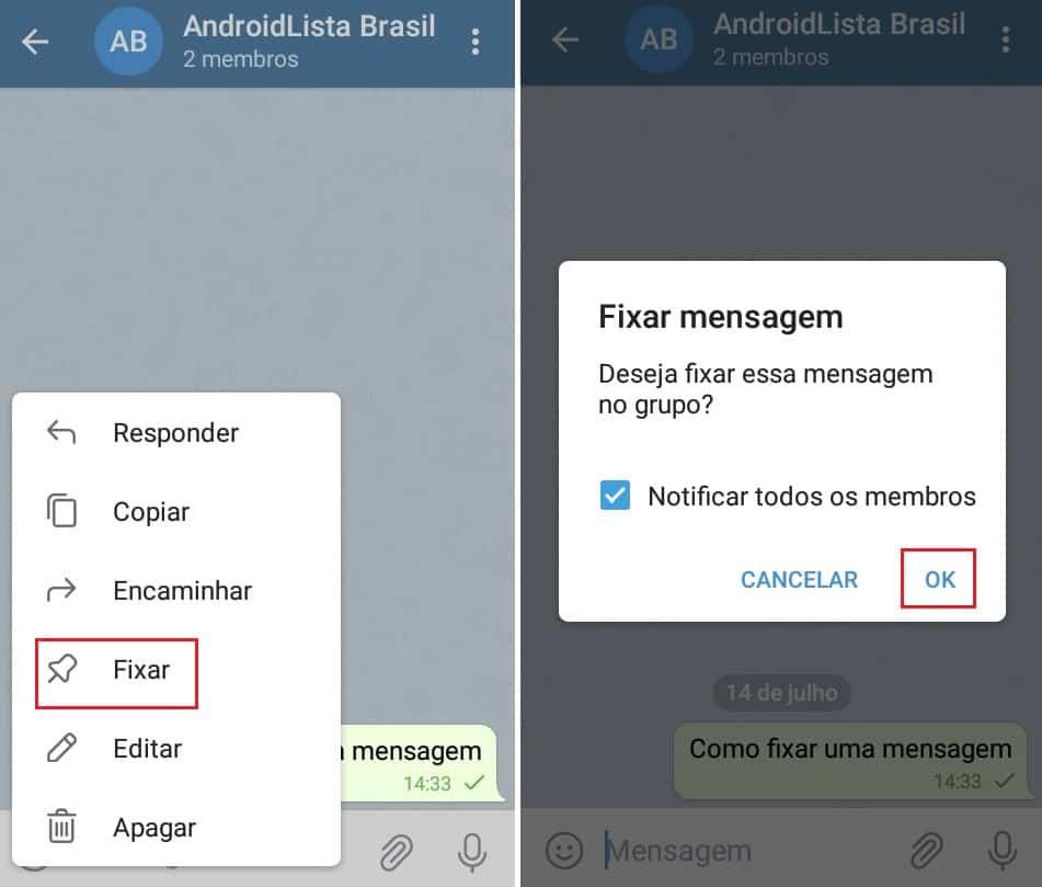 imagem 2 de Como fixar uma mensagem ou conversas no Telegram