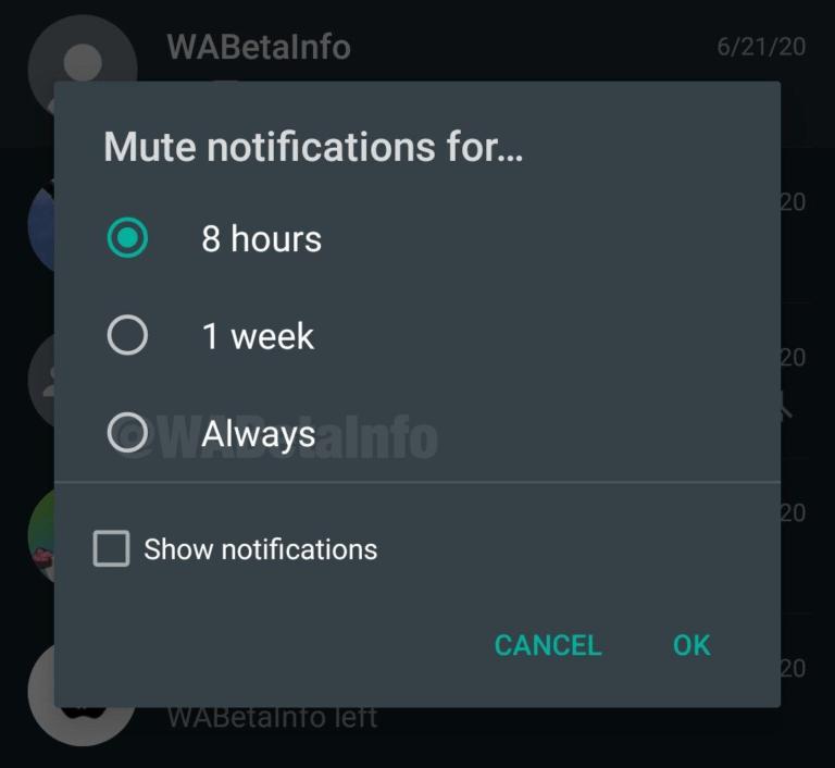 imagem 2 de Atualização do WhatsApp agora é possível silenciar contatos e grupos para sempre