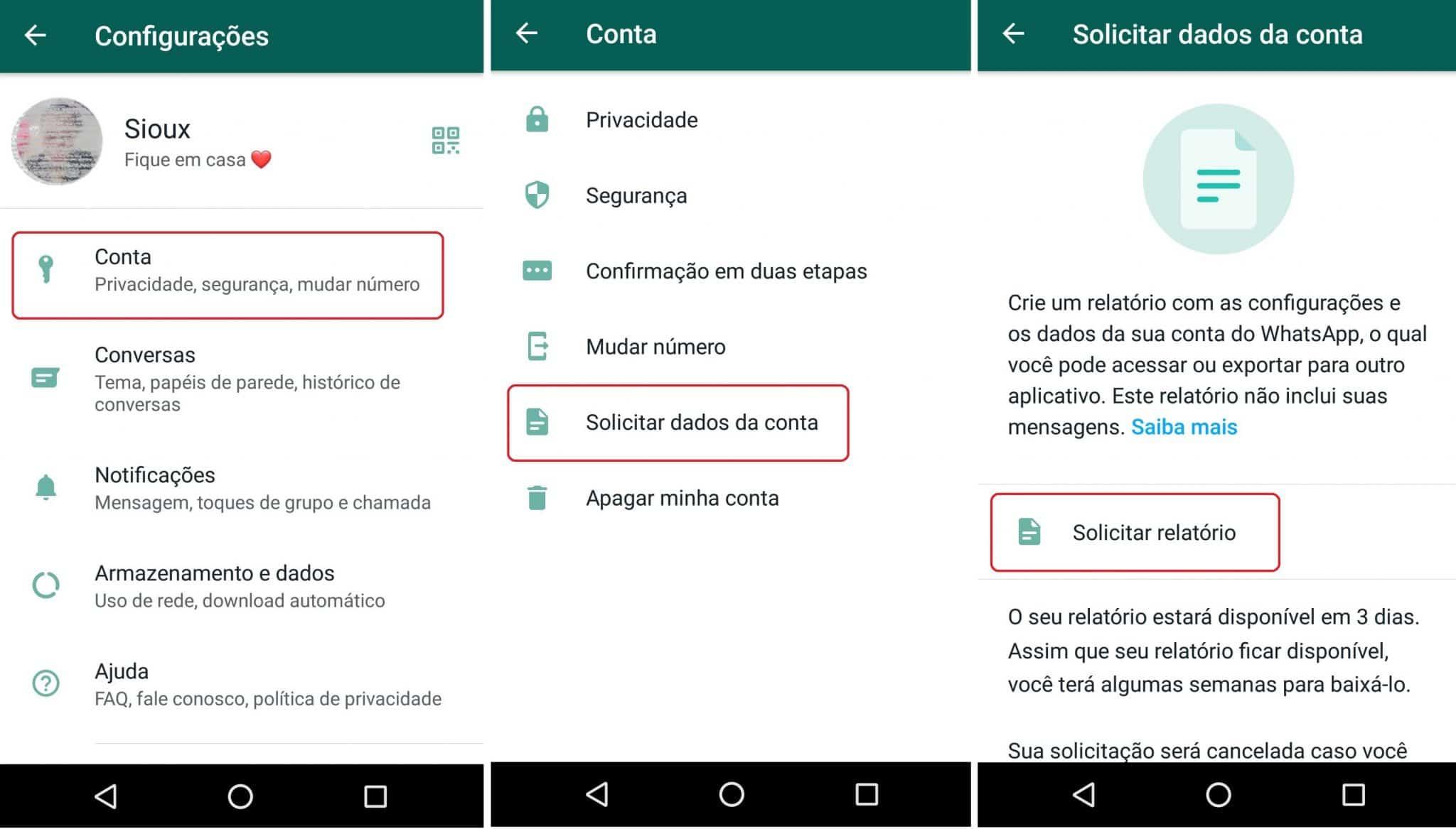 imagem 3 de Como visualizar, baixar e exportar os dados da sua conta no WhatsApp