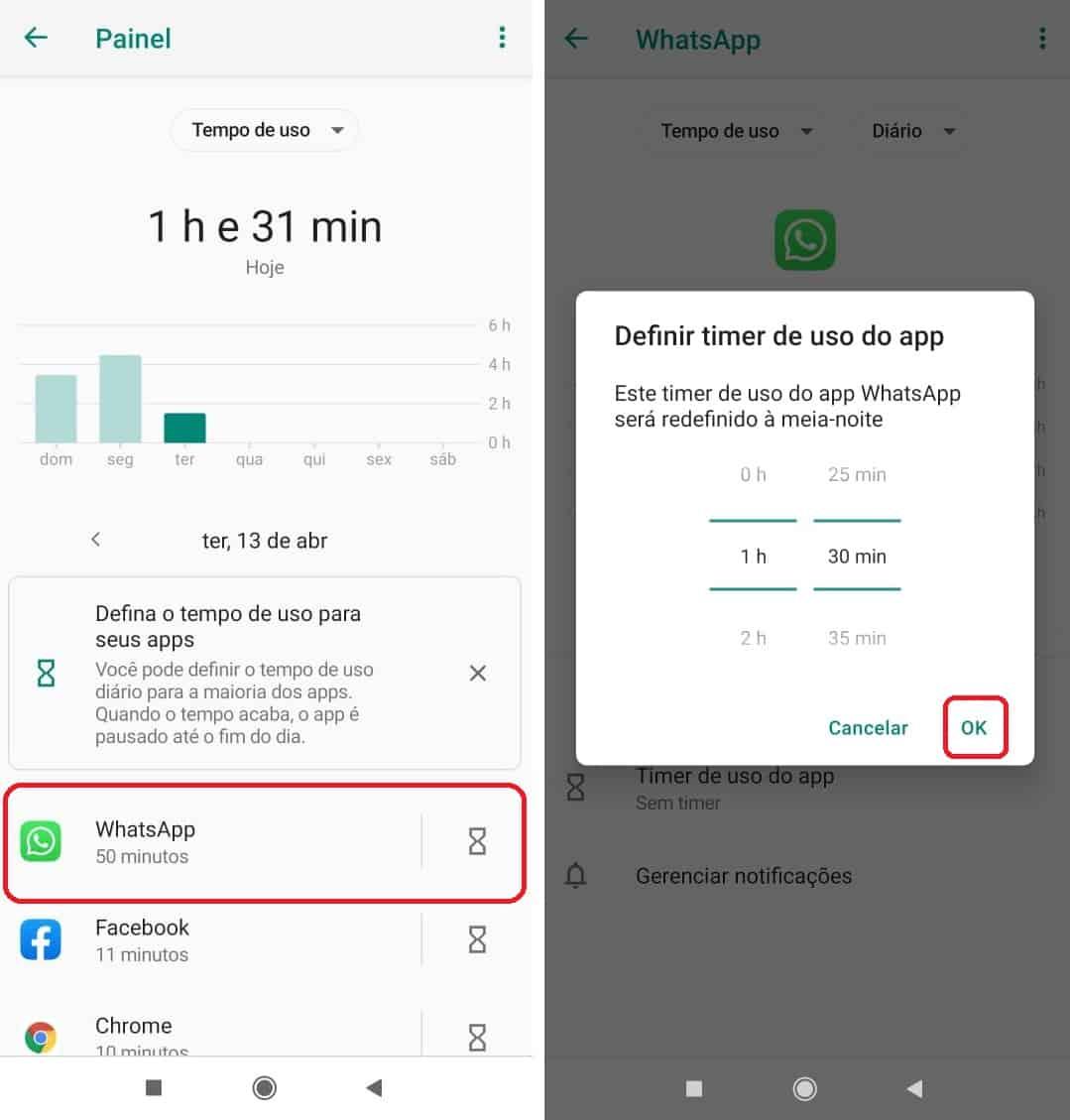 imagem 3 de Como limitar o tempo de uso, do WhatsApp, TikTok, YouTube e outros apps