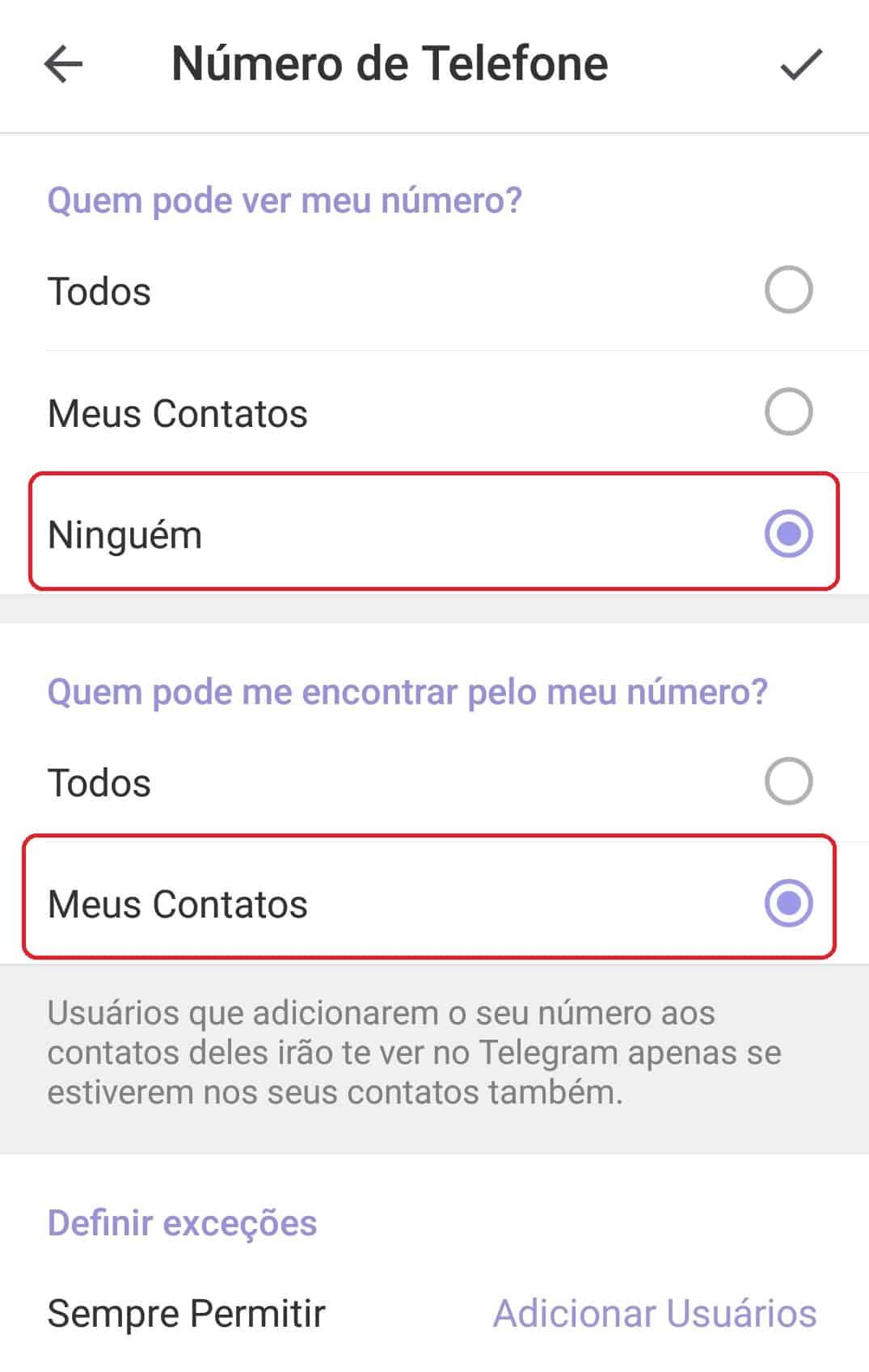 imagem 2 de Como ocultar o número de telefone no Telegram