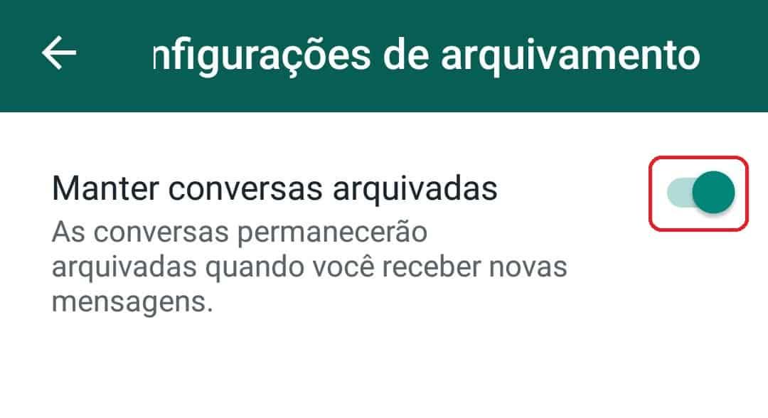 imagem 6 de WhatsApp como manter as conversas arquivadas permanentemente