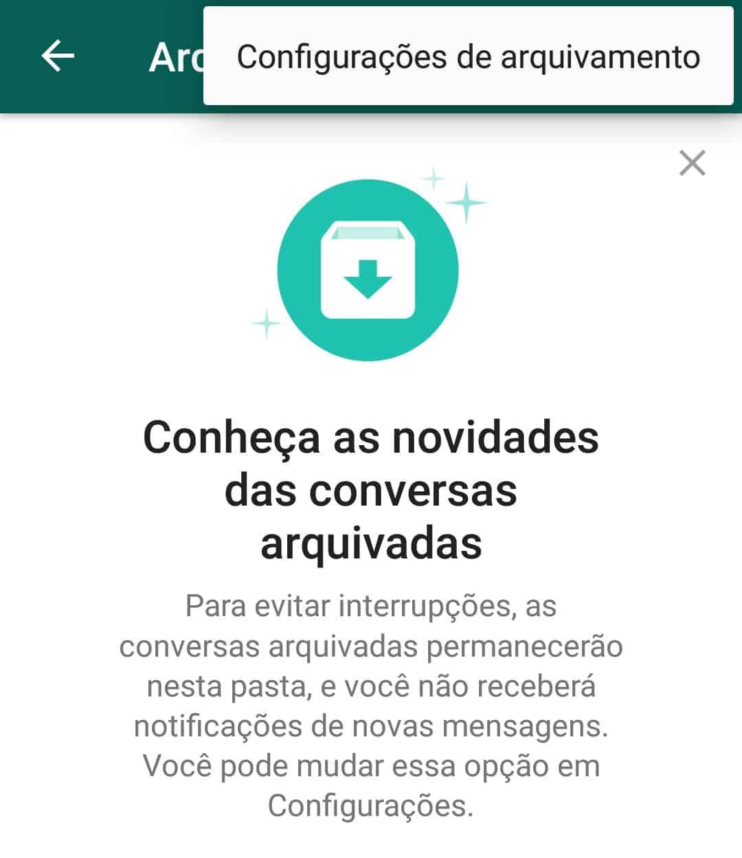 imagem 5 de WhatsApp como manter as conversas arquivadas permanentemente