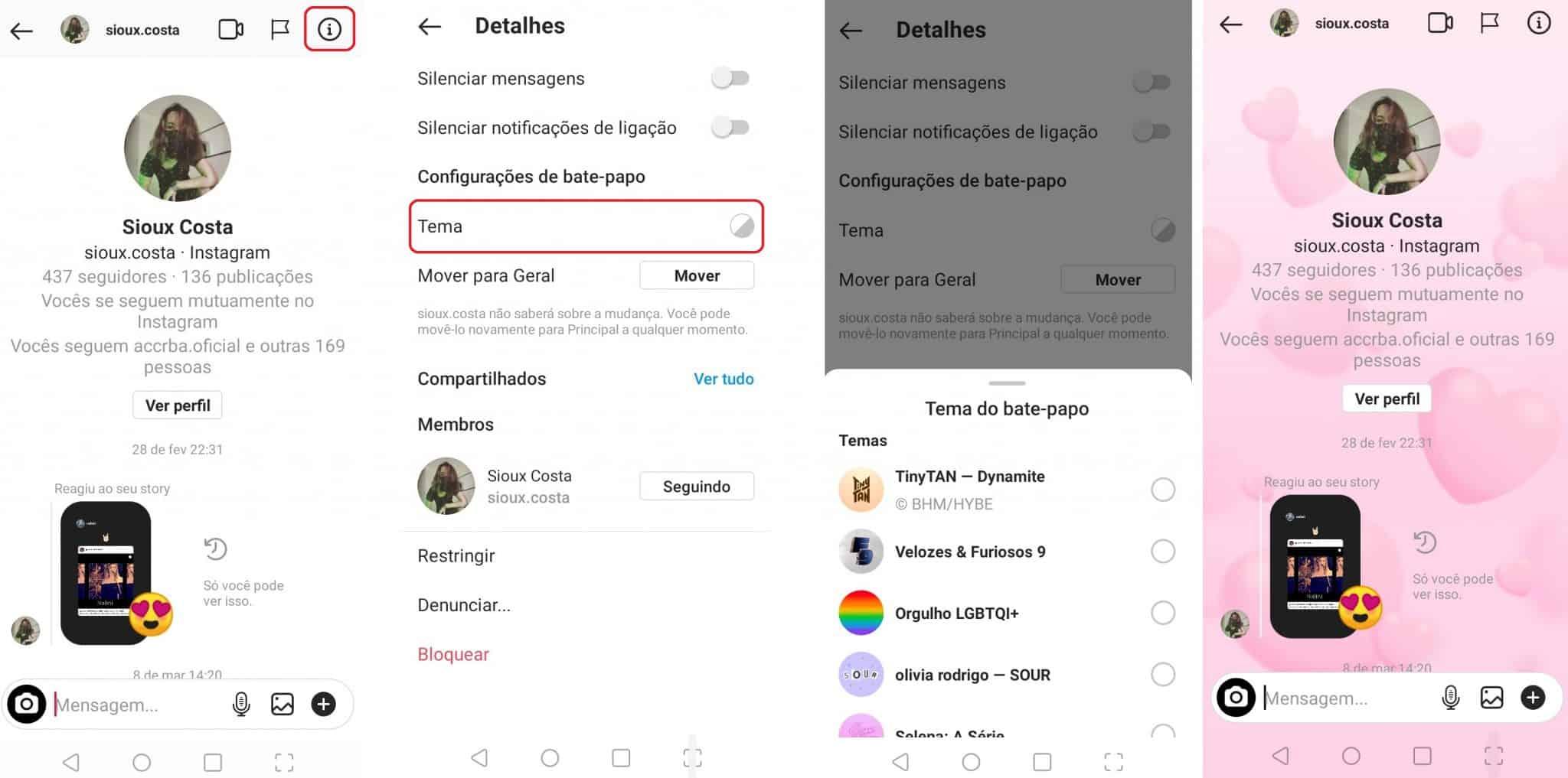 imagem 2 de Como mudar o tema dos chats do Instagram no Android
