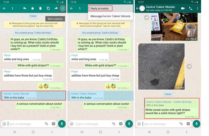 Image 3 WhatsApp グループチャットで、他のメンバーには知られずに密かに特定メッセージに返信しよう