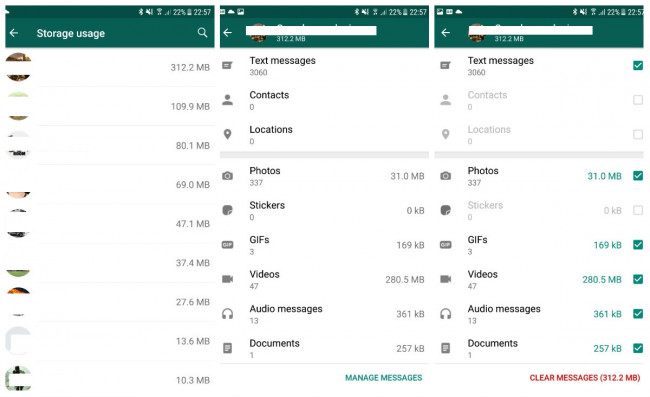 image for administrare spatiu whatsapp android 2