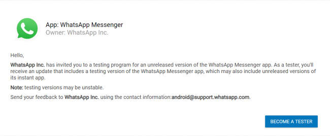 image for whatsapp beta tester