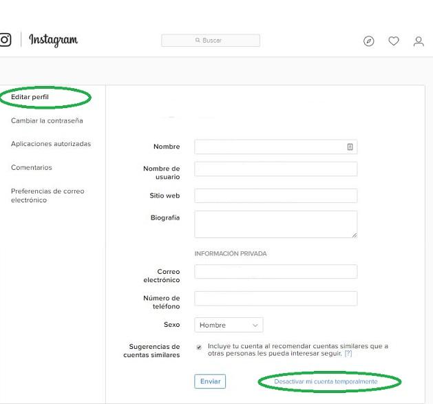 Deshabilitar cuenta de Instagram temporalmente