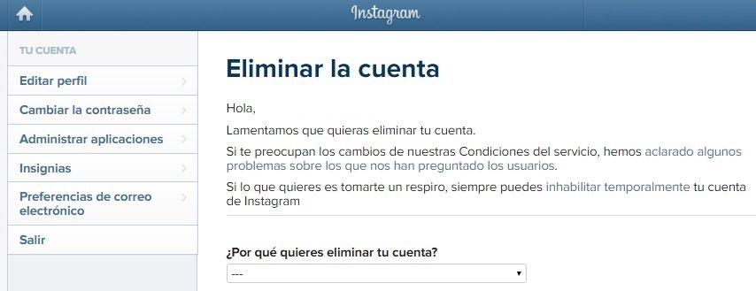 Eliminar cuenta de Instagram para siempre