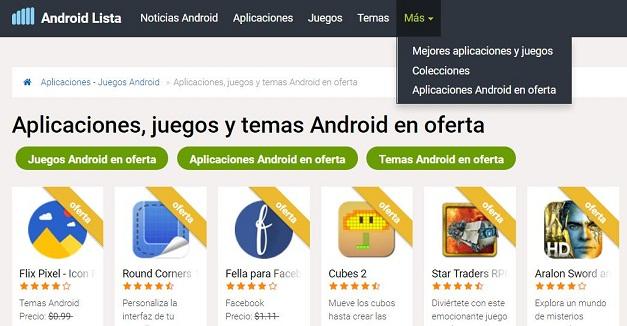 Aplicaciones, juegos y temas Android en oferta