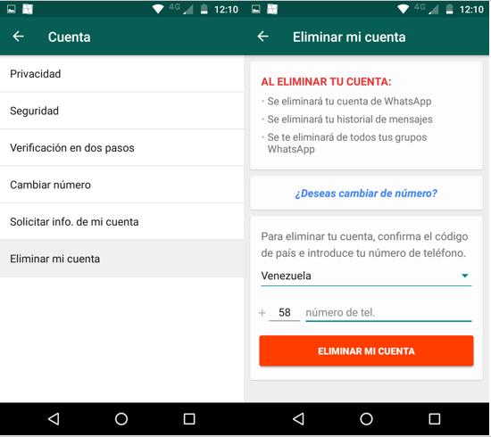 Imagen 4 - Cómo borrar tu cuenta de WhatsApp en Android
