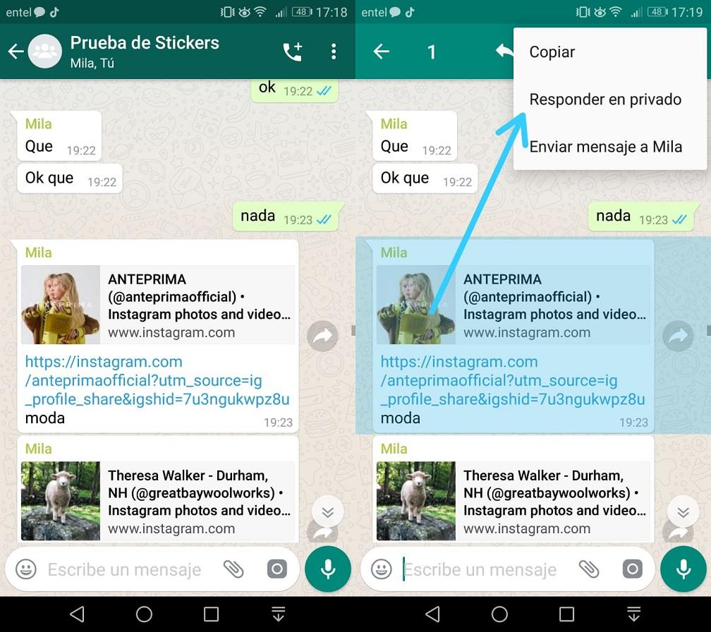 Imagen1 Responde mensajes de grupos de WhatsApp en forma privada
