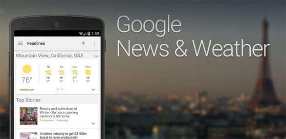 Noticias y tiempo de Google se actualiza y adopta el estilo Material Design del futuro Android L