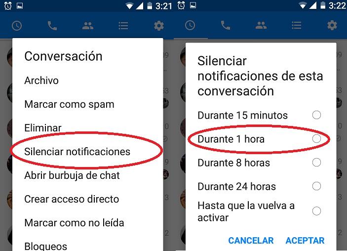 Desactivar las notificación de Facebook Messenger