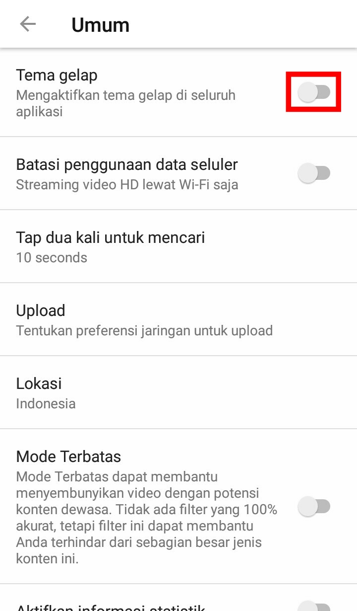 Image 3 Cara Mengaktifkan Mode Gelap YouTube di Android