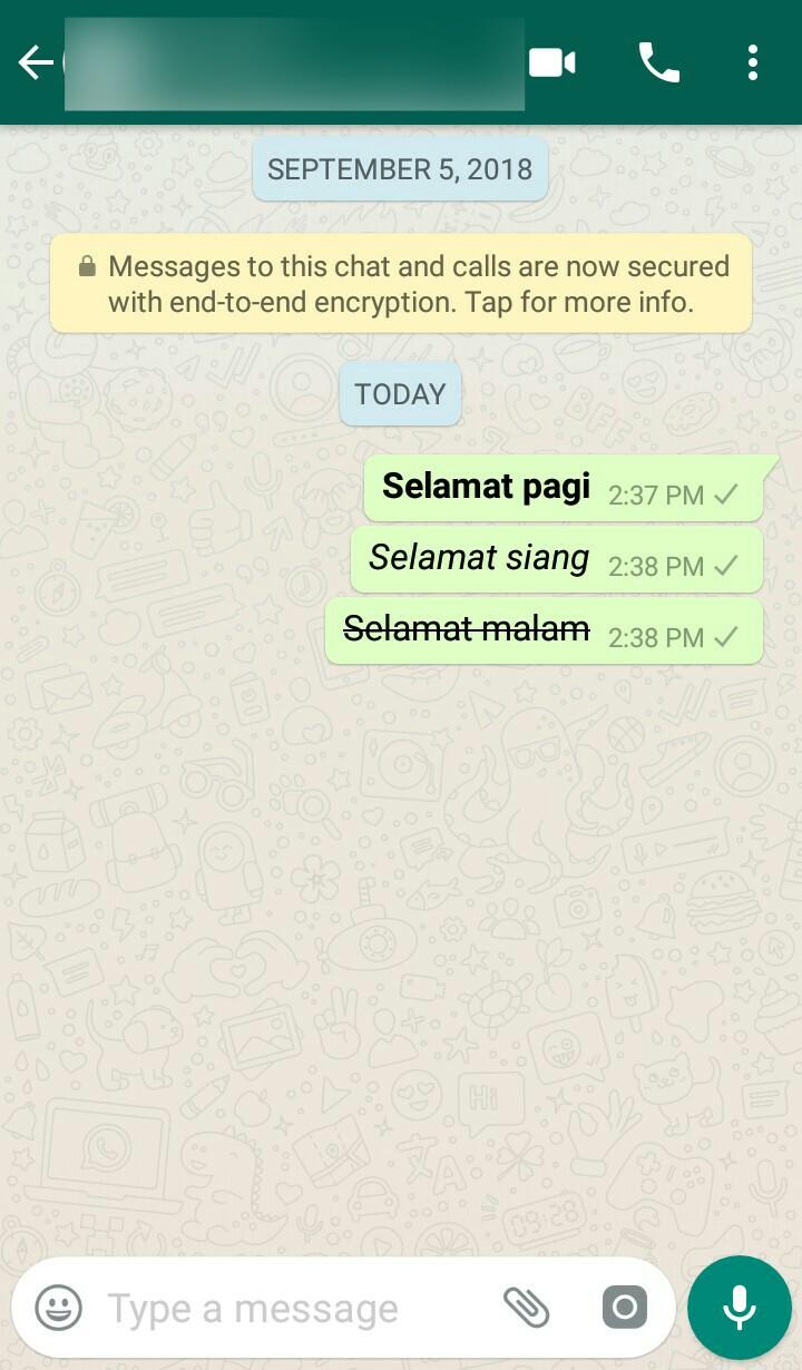 Image 1 Cara Membuat Teks Tebal, Miring, dan Tercoret di WhatsApp