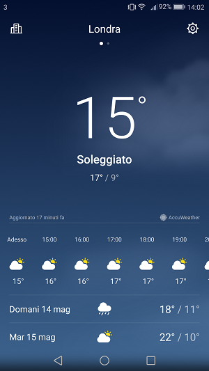Screenshot app meteo