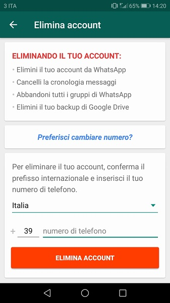 Screenshot1 cancella whatsapp