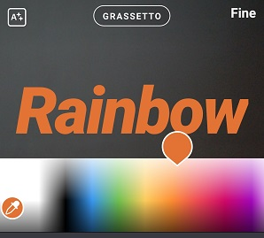 Screenshot testo rainbow