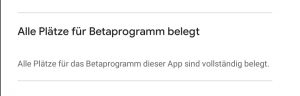 Das WhatsApp Beta Programm ist bereits belegt.