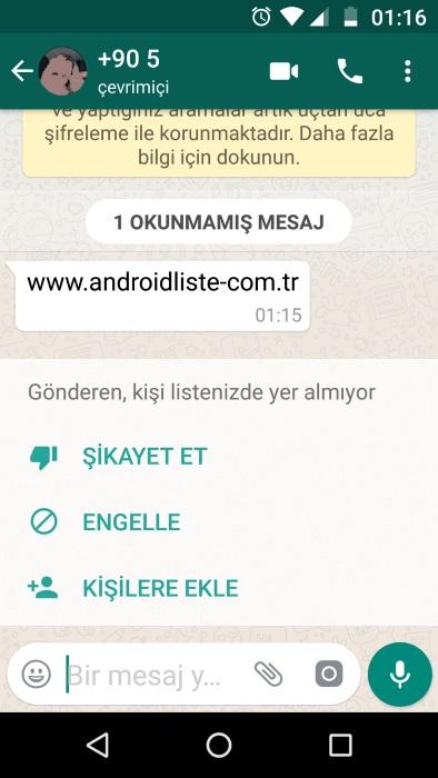 whatsapp engelleme