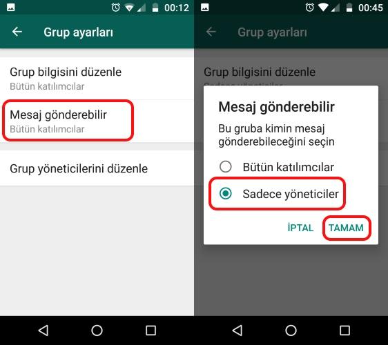 whatsapp kısıtlı gruplar