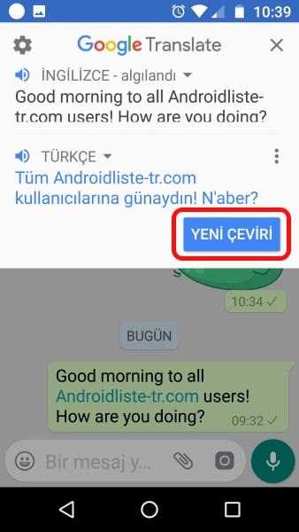 google çeviri whatsapp facebook messenger