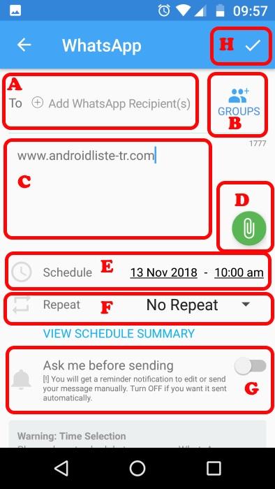whatsapp zamanlı mesaj