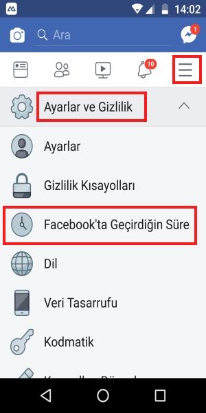 facebook'ta geçirdiğin süre