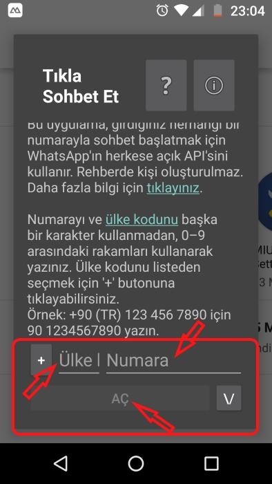 rehbere eklemeden whatsapp tan mesaj gönderme