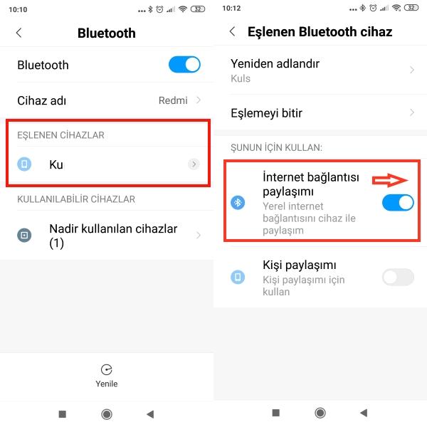 bluetooth-ile-wifi-paylaşma