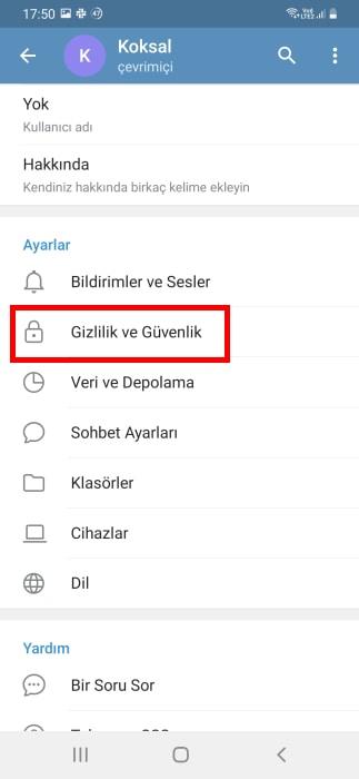 telegram-da-numara-gizleme